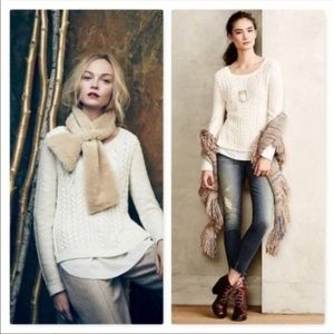 Moth Ella Cream Cable Knit Layered Sweater XL